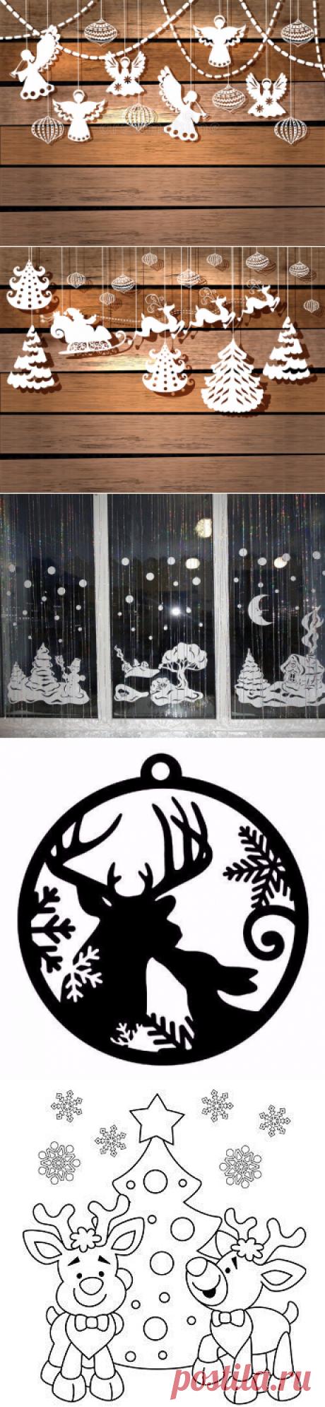 Новогодние трафареты - украшаем окна и стены