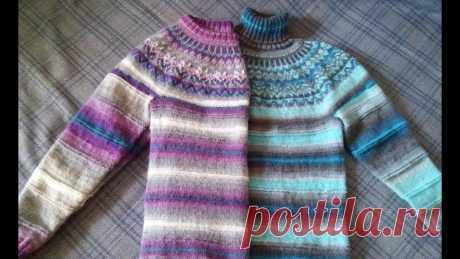 Последняя часть вязания свитера (пуловера) лопапейса | Вязание спицами. Работы пользователей Девочки, кто вяжет пуловер или свитер из секционной пряжи по моим видео- последняя часть: вязание и оформление горловины в пуловере и в свитере https://youtu.be/m_FQvKWml5g