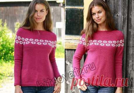 Пуловер реглан вкруговую сверху вниз спицами - Хитсовет Модная модель женского пуловера реглан, связанного вкруговую сверху вниз спицами со схемами и бесплатным пошаговым описанием вязания.
