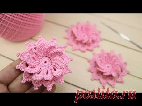 Вязание крючком ПРОСТОЙ ЦВЕТОК с объёмной серединкой МАСТЕР-КЛАСС по вязанию How to crochet a flower