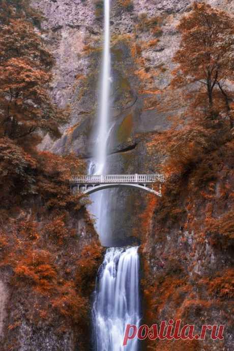 La cascada de Maltnomah, los EEUU. El autor de la foto: Alesandro Mokroguz.