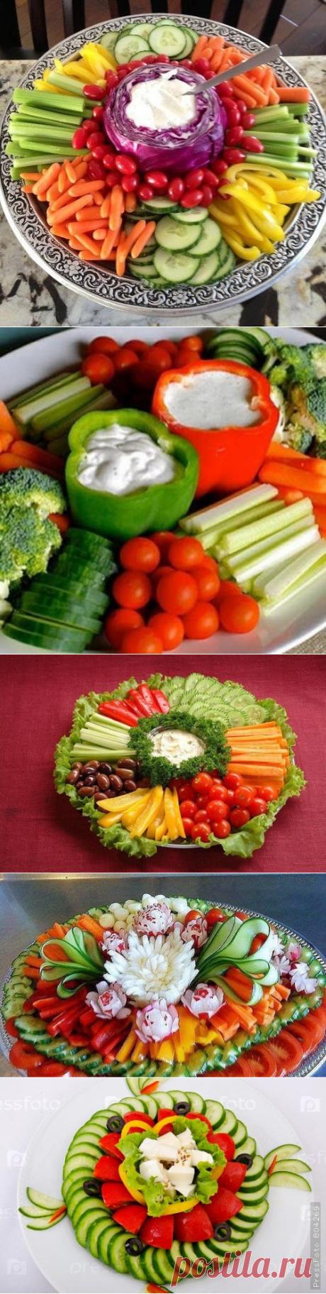 Идеи оформления овощных тарелок.
