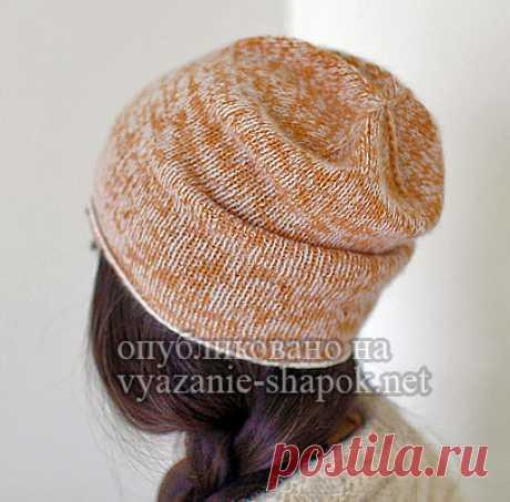 Плотная меланжевая шапка спицами от Sharon Matarazzo.