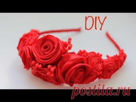 Satin Ribbon Flower Headband DIY / Ободок из атласных лент - YouTube