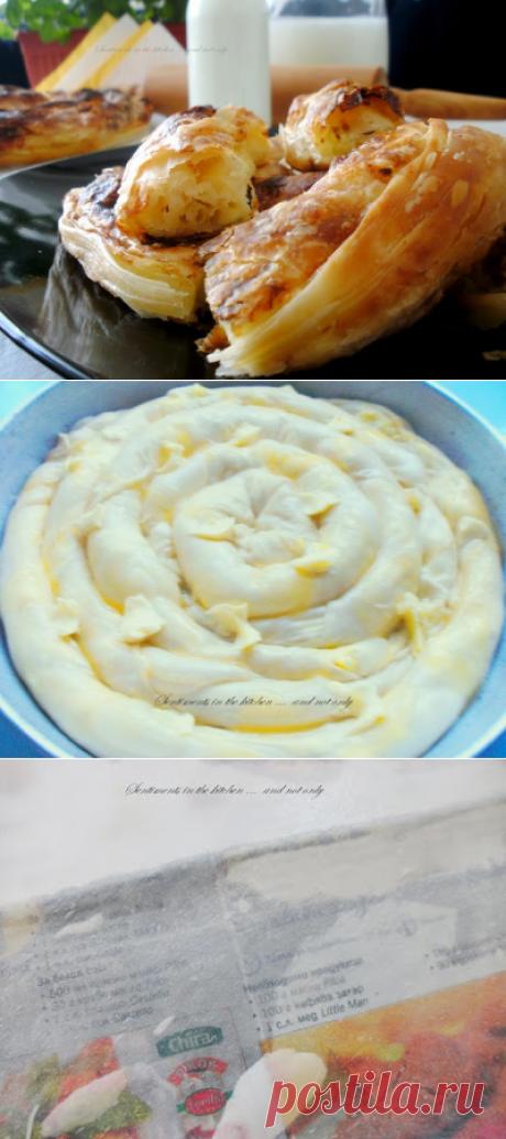 Домашна вита баница с теглени кори, сирене и масло