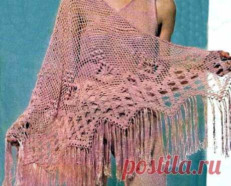 Розовая филейная шаль Розовая филейная шаль. Схема вязания