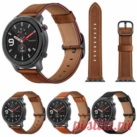 Bakeey 22mm First Layer Genuine Leather Replacement Strap Smart Watch Band for A - US$13.99