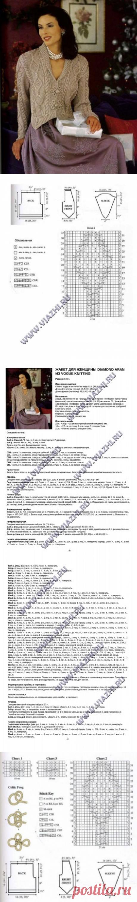 Жакет для женщины Diamond Aran от дизайнеров из Vogue Knitting