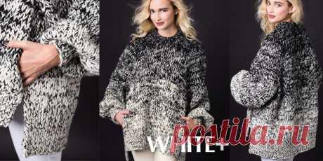 Свитер оверсайз спицами Hi Lo Как связать свитер оверсайз спицами, с описанием. Расширенный рукав реглан, широкая спинка, заходящая вперед на более короткую полочку, боковые разрезы и карманы делают этот свитер оверсайз яркой, эффектной и центральной одеждой стильного гардероба.