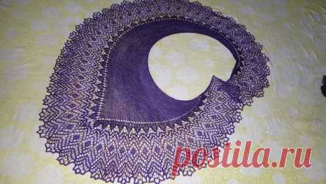 Как вязать спицами женскую шаль «Фишю»