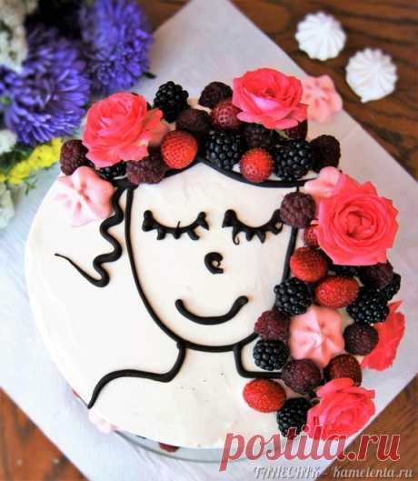 """Торт """"Молочная девочка"""" (Milch Mädchen) с йогуртовым кремом и фруктами-ягодами"""