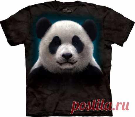 АРТ № 103279 Футболка The Mountain -  Panda Head Бесшовная футболка -варенка 100% хлопок Размеры Детские + Взрослые  S, M, L,XL, XXL, XXXL, 4ХL,  4ХL Рисунок нанесен красками на водной основе. Не выгорает, не тянется