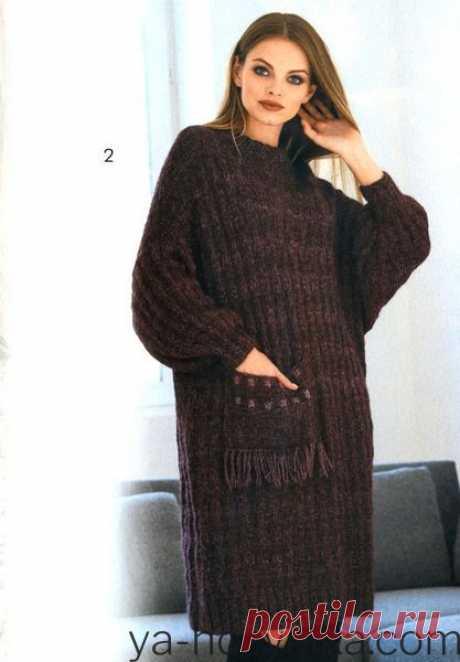 Теплое платье оверсайз спицами с описанием. Вязаные платья спицами 2021