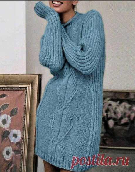 Теплое платье украшенное вертикальным рисунком крупной фактуры (Вязание спицами) – Журнал Вдохновение Рукодельницы