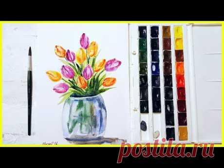 Рисуем букет тюльпанов акварелью! Запись трансляции! 26.02.18