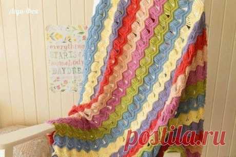 Цветное покрывало крючком. МК, схема узора. / knittingideas.ru