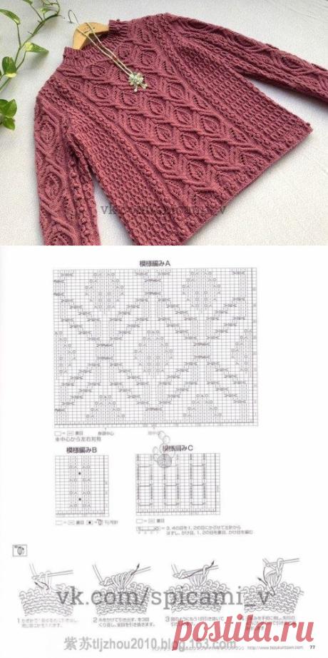 Восхитительный свитер на спицах — Сделай сам, идеи для творчества - DIY Ideas