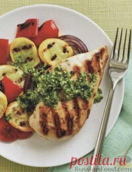 Рецепт: Куриное филе и овощи, жаренные на гриле на RussianFood.com