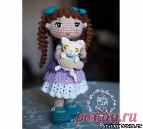 Кукла Алекса амигуруми с котенком. МК   Вязаные игрушки.