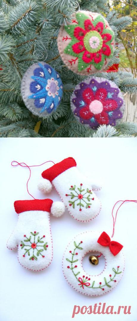 Фетровые игрушки для новогодней ёлки | Домашний hand-made