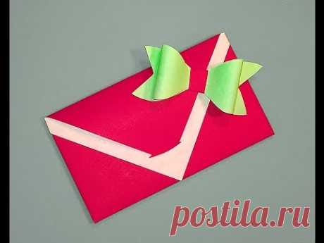 Easy paper bow. Without ribbon or wrapping paper. Gift box and envelope decorating
