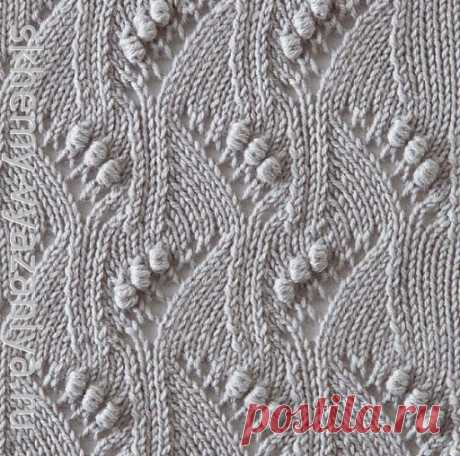 Японский узор из ажурных волн с шишечками - схема вязания спицами