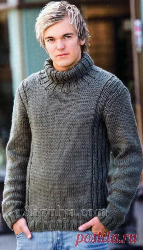 www.SHPULYA.com - Серый мужской свитер, связанный спицами
