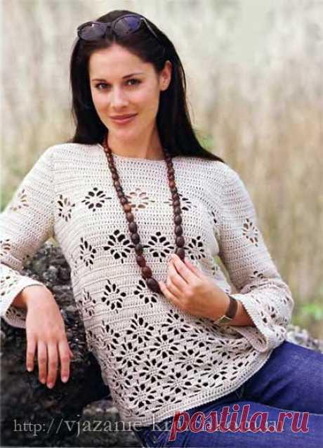 Вяжем крючком пуловер схемы вязания и описание