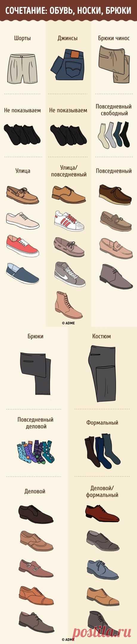 Сочетание: обувь, носки, брюки