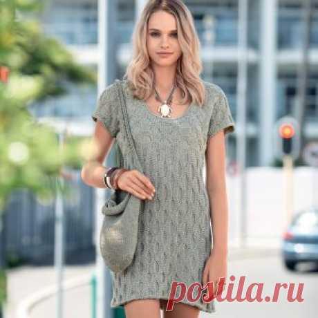 Короткое платье с рельефным узором - схема вязания спицами. Вяжем Платья на Verena.ru