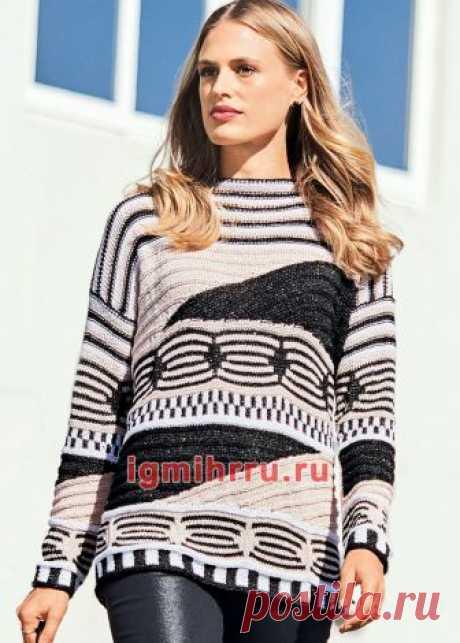 Пуловер с фантазийными графическими узорами. Вязание спицами