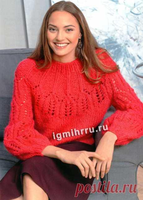 Красный пуловер с узорчатой кокеткой и пышными рукавами. Вязание спицами со схемами и описанием