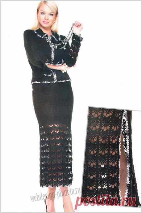Элегантный вязаный жакет и юбка крючком | Вязание спицами, вязание крючком | Мир вязания
