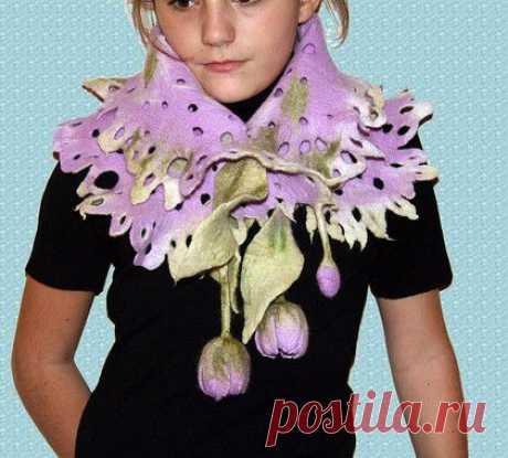 Primaveral - la lana la seda la bufanda, los tulipanes, color lila, la primavera, la bufanda valyanyy, la lana la seda