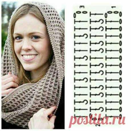 Узор для шарфа крючком рельефными столбиками