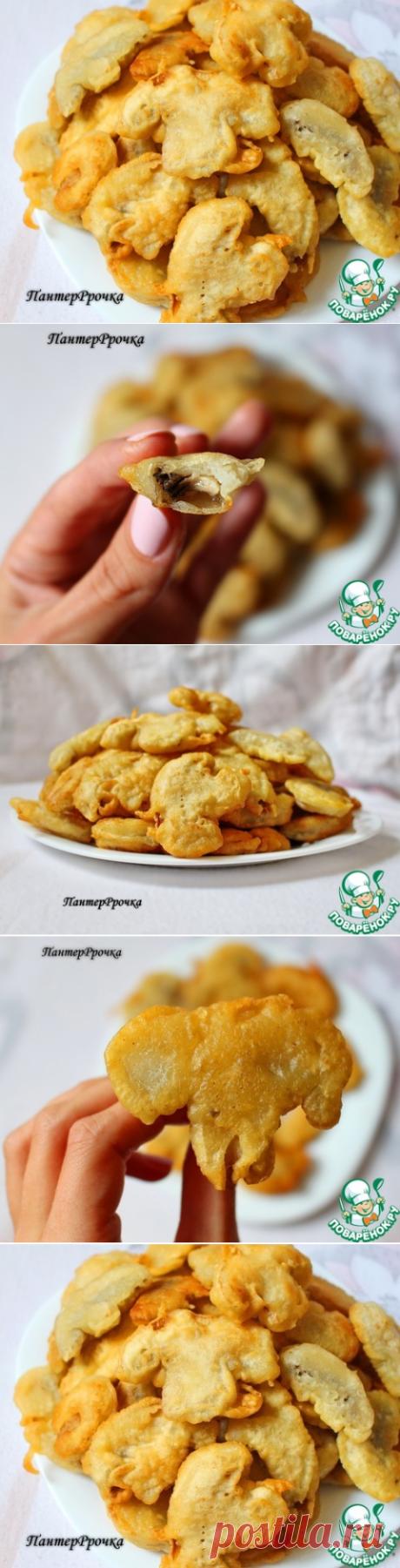 """Любите шампинйоны?попробовав этот рецепт вы будите готовить эти потрясающие грибы только так!!! =Ингредиенты для """"Шампиньоны в необыкновенно хрустящем кляре"""": Шампиньоны (большие) — 7 шт Крахмал картофельный — 90 г Мука пшеничная — 170 г Соль — 1 ч. л. Сахар (щепотка) Разрыхлитель теста — 1 ч. л. Масло растительное (в кляр, + 300 мл для жарки) — 3 ст. л. Вода — 250 мл Кунжут — 2 ст. л."""