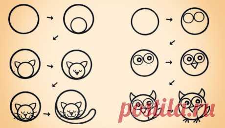 10 способов научить ребёнка рисовать животных из кругов Раз, два, три — и готово!