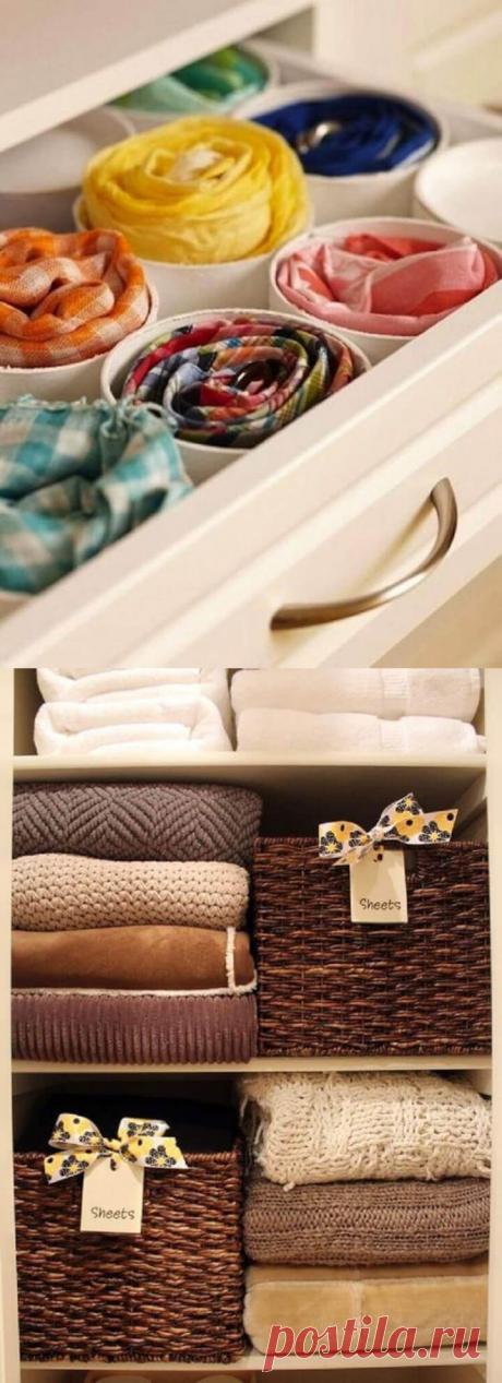 22 офигенных примера, как складывать вещи в шкафу   Тысяча и одна идея