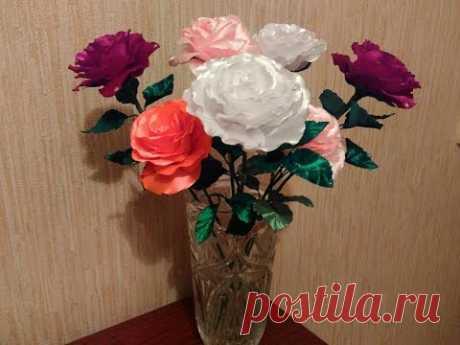 Роза для интерьера. Роза из атласной ленты своими руками - YouTube