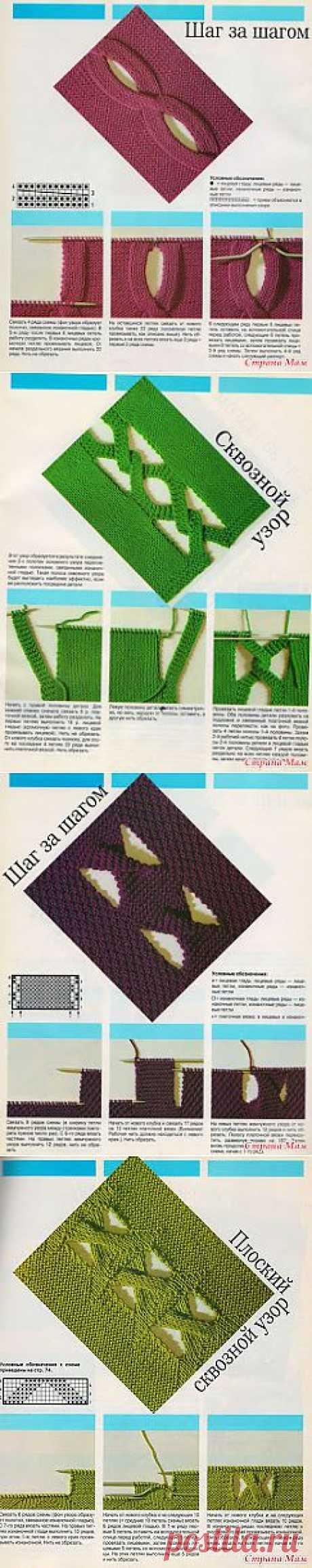 Вязание крючком и спицами/Crochet and knitting: Сквозные узоры спицами
