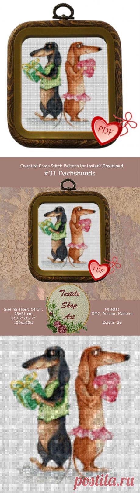 Cute Dachshunds Cross Stitch Pattern PDF Embroidery Pattern | Etsy