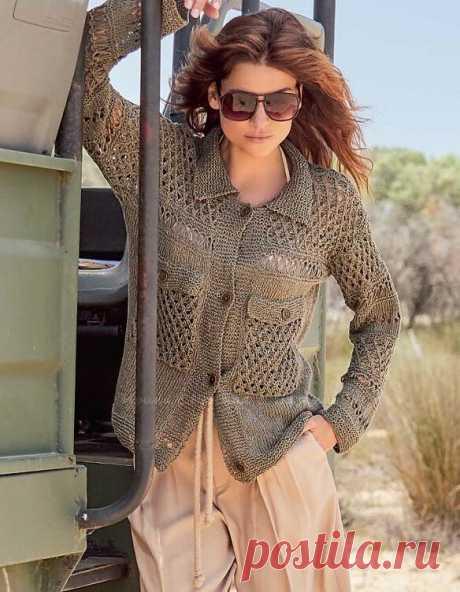 Жакет свободного силуэта с рубашечным воротником, длинными рукавами и крупными накладными карманами