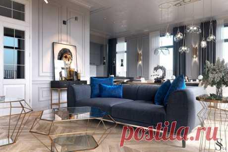 Синий цвет в фотографиях интерьеров - как и с чем сочетать мебель и обои узнайте на сайте Stone Floor в Туле   #синийинтерьер#синийпалитрыцветов#палитрысинего#счемсочетатьсиний#Тула#Stonefloor