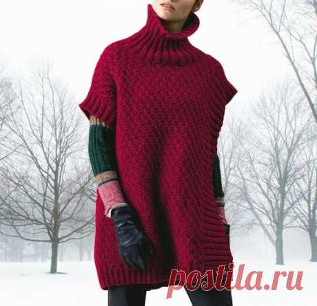 Стильное вязаное пончо-жилет (описание вязания до 56-го размера) | Идеи рукоделия | Яндекс Дзен