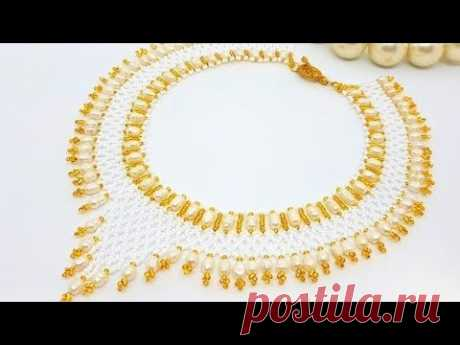 Pearl necklace/Diy pearl necklace/Beaded pearl necklace/Жемчужное ожерелье/Колье своими руками