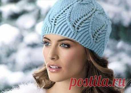 Красивая шапочка спицами из категории Интересные идеи – Вязаные идеи, идеи для вязания
