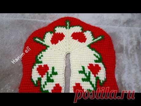 Жаккардовые тапочки-следки тунисским вязанием, видео мастер-классы.