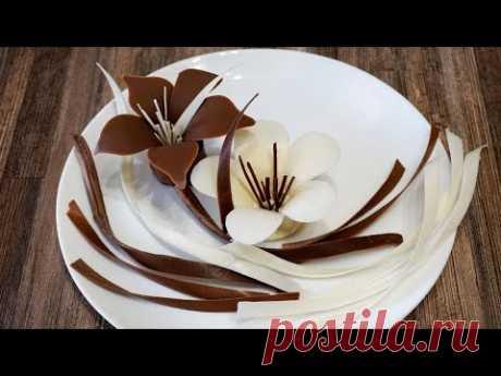 Шоколадные цветы для торта.