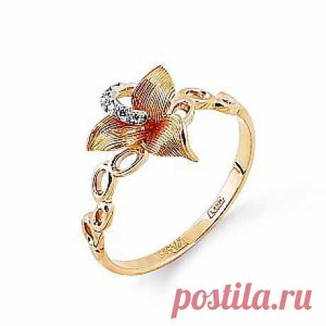 Чудесное кольцо из красного золота с белыми бриллиантами в форме цветка. Изящное и женственное украшение. Скидка 50%! Купить за 6 190 руб
