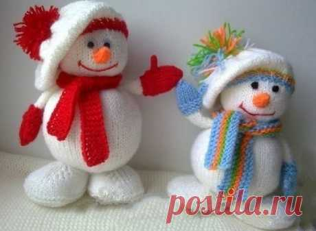 Вязаный снеговик спицами мастер класс с описанием для начинающих